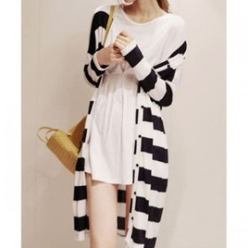 Cardigan dama lung design cu dungi orizontale alb negru