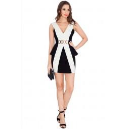Rochie alb/negru, cu deschidere adanca in V